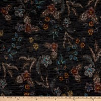 Telio Topaz Brushed Hatchi Stretch Knit Floral Print Black