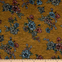 Telio Topaz Brushed Hatchi Stretch Knit Floral Print Mustard