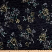 Telio Topaz Brushed Hatchi Stretch Knit Floral Print Navy