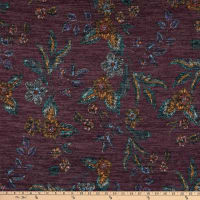 Telio Topaz Brushed Hatchi Stretch Knit Floral Print Plum