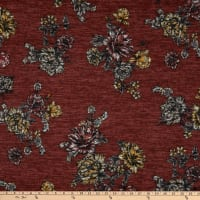 Telio Topaz Brushed Hatchi Stretch Knit Floral Print Red