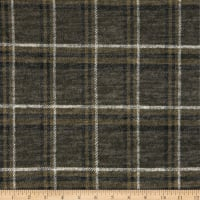 Telio Topaz Brushed Hatchi Stretch Knit Plaid Print Olive