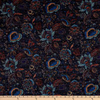 Telio Topaz Brushed Hatchi Stretch Knit Vintage Floral Navy
