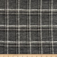 Telio Topaz Brushed Hatchi Stretch Knit Plaid Print Grey