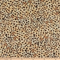 Telio Viscose Crepe Animal Print Ecru Black