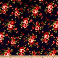 Fabric Merchants Techno Crepe Knit Roses Navy/Red