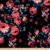 Fabric Merchants Techno Crepe Knit Rose Bouquet Black/Pink