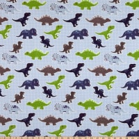 Fabtrends Cotton Jersey Dinosaur Blue