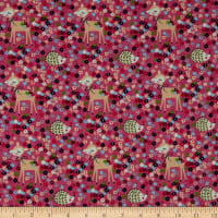 Fabtrends Cotton Jersey Bambi Porcupine Floral Pink