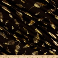 Fabtrends Cotton Jersey Metallic Fancy Feathers Black