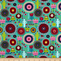 Fabtrends Cotton Jersey Mexican Fiesta Cactus Mint
