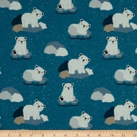 Fabtrends Cotton Jersey Polar Bears Teal