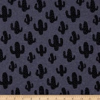 Fabtrends French Terry Mexican Cactus Denim
