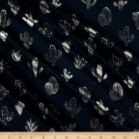 Fabtrends Cotton Jersey Fancy Cactus Navy