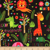 EZ Fabric Minky Neon Jungle Neon Jungle Black