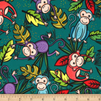 Michael Miller Minky Tropical Monkeys Tropical Monkeys Leaf
