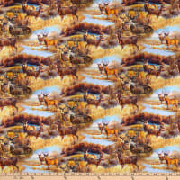 QT Fabrics Deer Meadow Deer Scenic Multi