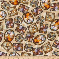 QT Fabrics Deer Meadow Tossed Deer Patches Tan