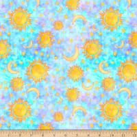 QT Fabrics Dream Big Sun Moon Stars Blue
