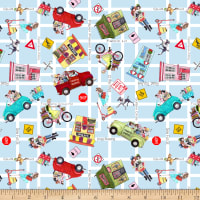 QT Fabrics It's A Shop Hop Shop Hop Toss Light Blue