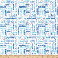 QT Fabrics It's A Shop Hop Quilter's Lingo Blue