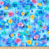 QT Fabrics Charlene Spaced Watercolor Floral Blue