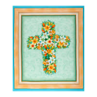 "QT Fabrics Easter Parade Floral Cross 36"" Panel Multi"