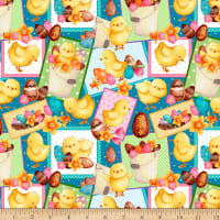 QT Fabrics Easter Parade Chick Patches Teal