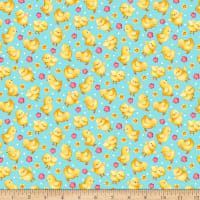 QT Fabrics Easter Parade Chicks Blue
