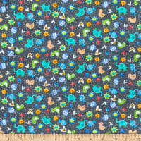 QT Fabrics Lil' Sunshine Animal Toss Dark Grey