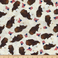 QT Fabrics All American Eagle Toss Cream