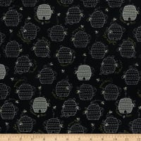 QT Fabrics All The Buzz Beehives Black