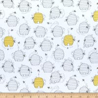 QT Fabrics All The Buzz Beehives White