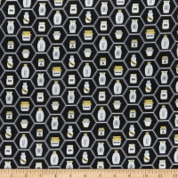 QT Fabrics All The Buzz Honey Jars Black