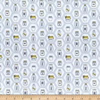QT Fabrics All The Buzz Honey Jars White