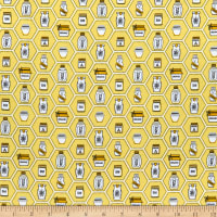 QT Fabrics All The Buzz Honey Jars Yellow