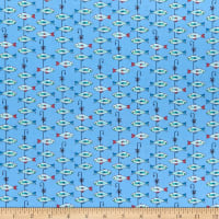 QT Fabrics Gnomesville Fish Light Blue