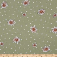 Fabtrends Rayon Soleil Floral On Dots Seafoam Coral Ivory