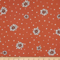 Fabtrends Rayon Soleil Floral On Dots Terracotta Peach Ivory