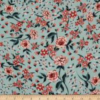 Fabtrends Rayon Soleil Floral Mint Terracotta Peach