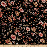 Fabtrends Rayon Soleil Floral Black Rust Olive