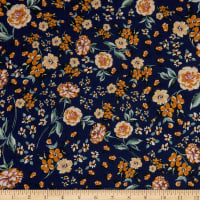 Fabtrends Rayon Soleil Floral Navy Gold Pink