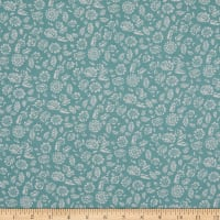 Fabtrends Rayon Soleil Floral  Fields Mint Ivory