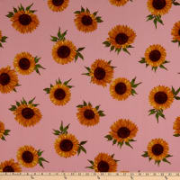 Fabtrends Sunflower Blossom Linen Look Voile Pink/Gold