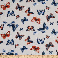 Fabtrends Rayon Soleil Butterfly Tan Rust Navy