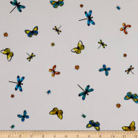 Fabtrends Rayon Soleil Butterly And Ladybug Off White Black Multi