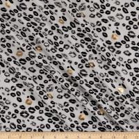 Fabtrends Rayon Soleil With Foil Kisses Ivory Black Grey Gold