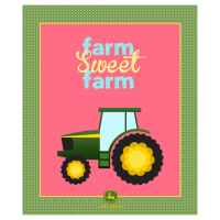 "John Deere Floral Farm Sweet Farm With Plaid 36"" Panel Multi"
