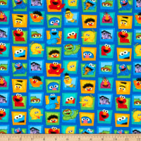 EXCLUSIVE KNIT Sesame Street Digital Character Faces Blue