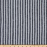"Linen Blend 1/4"" Stripe Navy/White"